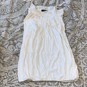 Sky white mini dress crochet detail S